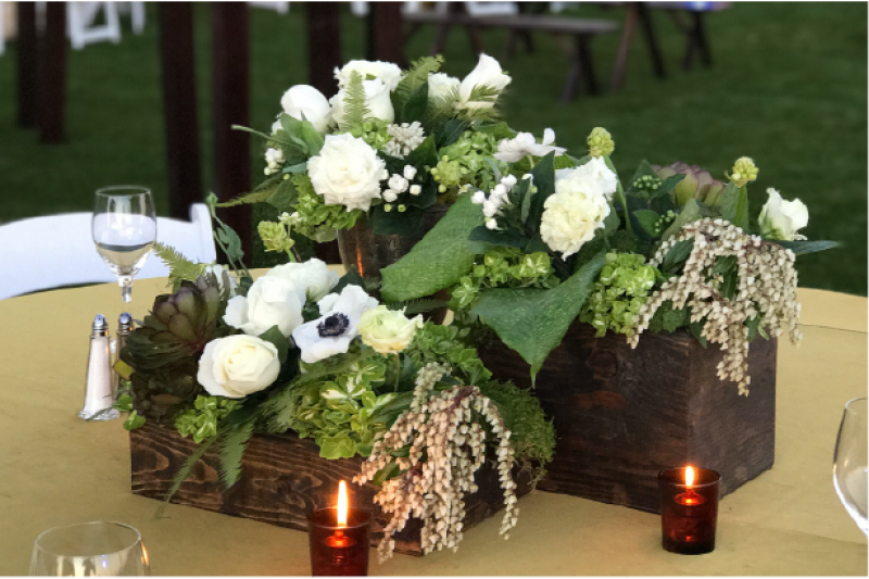 Event Floral Design Green And White Wood Boxes
