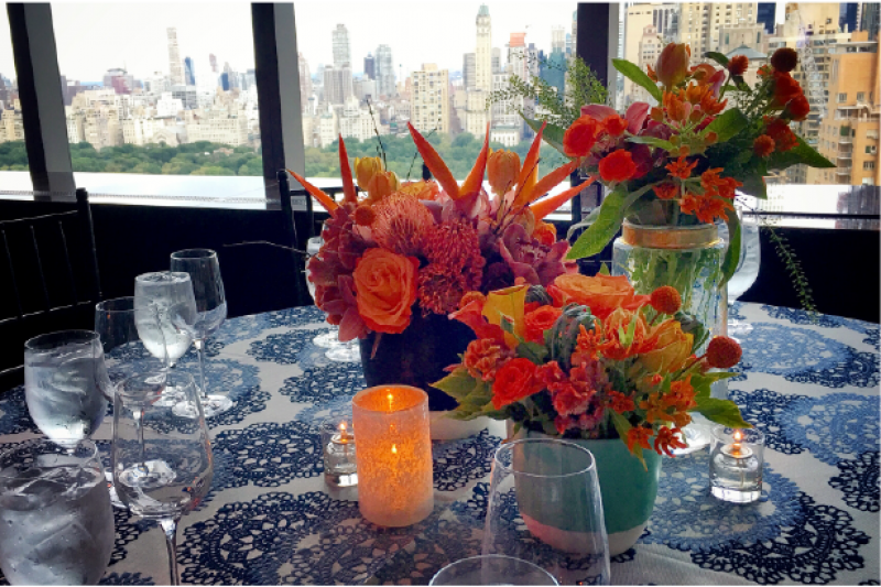 Event Floral Design Orange And Blue