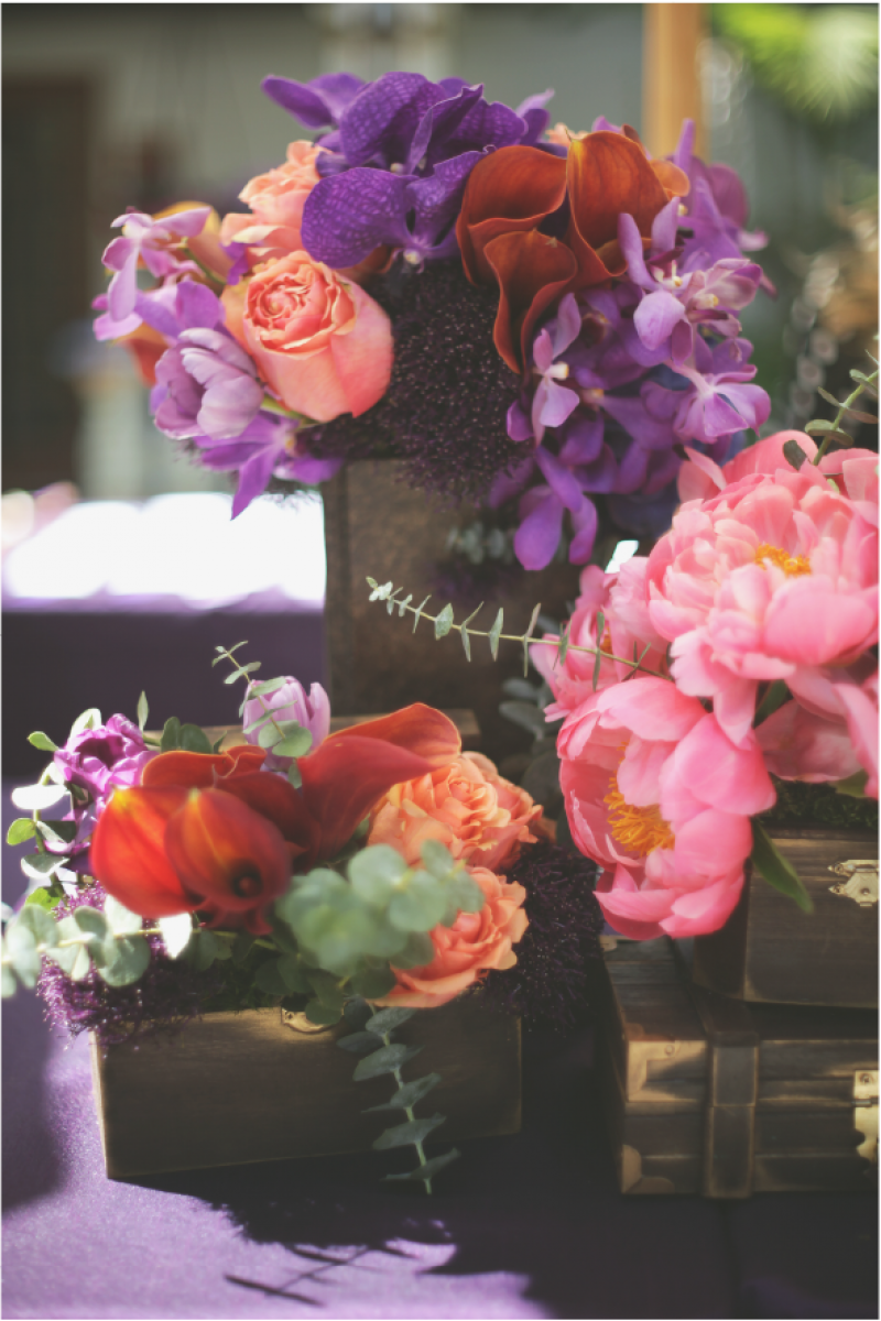 Event Floral Design Purple And Pink Treasure Chest