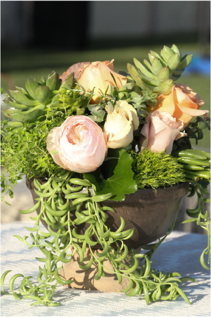 Event Floral Design Succulent And Coral Roses