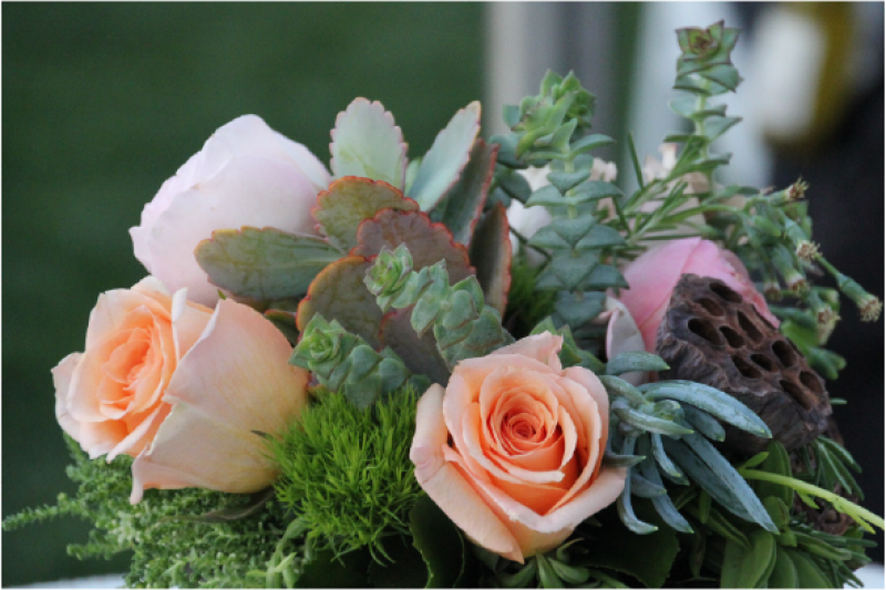 Event Floral Design Succulents And Pink Roses