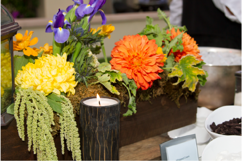 Event Floral Design Wood Candle